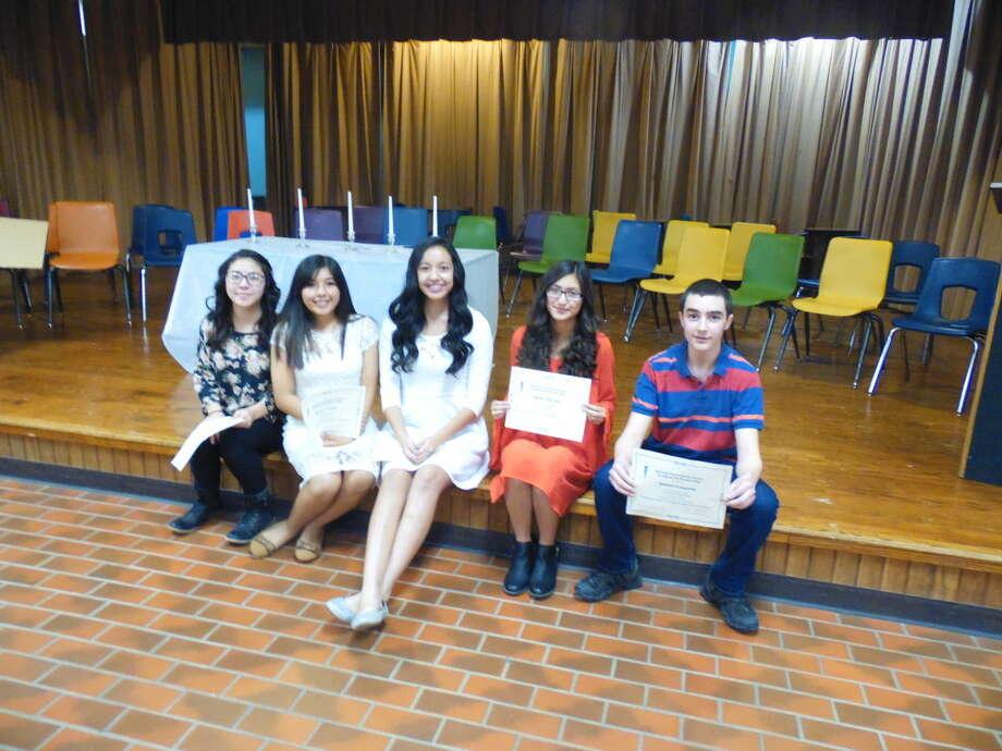 Jan Seago/Plainview ISD Eighth Grade inductees into the Coronado National Junior Honor Society include Paola Garcia (left), Maritza Castro, Zoe Medina, Jaclyn Tijerina and Samuel Longoria.
