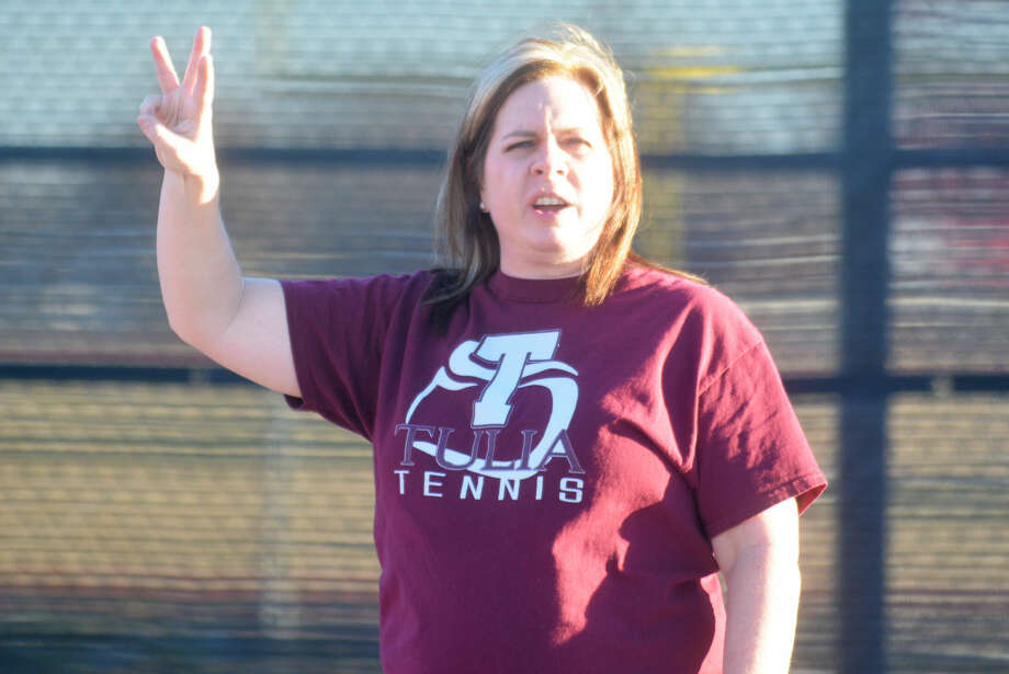 Tulia tennis coach Kim Hoelting gives instructions during practice recently. The 10th-year tennis coach has built a strong program that produces multiple state champions every year. Photo: Skip Leon/Plainview Herald