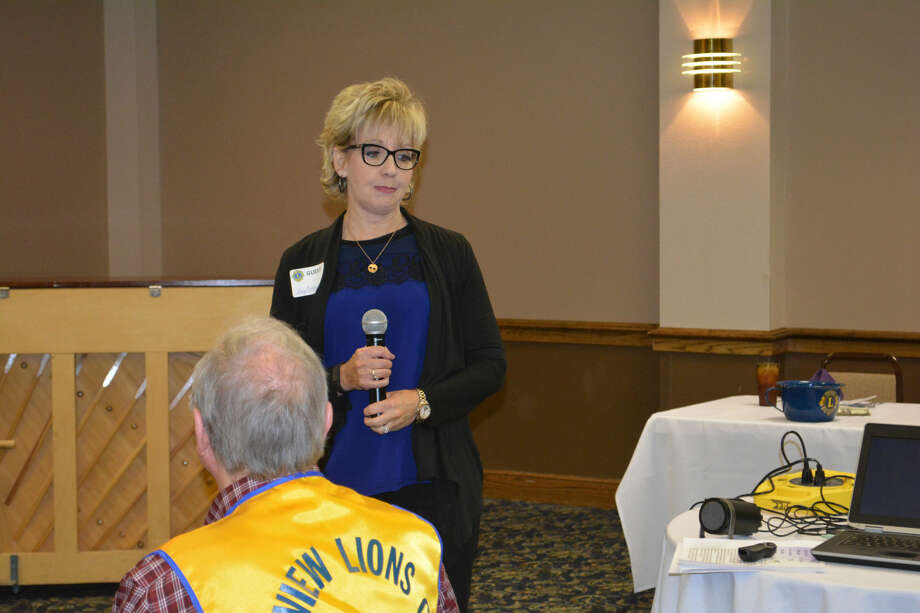 Doug McDonough/Plainview HeraldKay Brotherton, special projects director for Central Plains Center, explains the Rural Counties Initiative for Recovery, at Wednesday's Plainview Lions Club meeting.