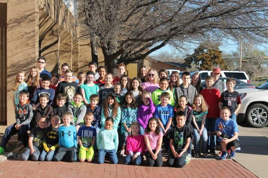 Courtesy Photo Students from Plainview Christian Academy participating in the Area Math Olympics include: Jarret Ortiz (front left), Will Lawson, Karsten Andrews, Bryson Denton, Kyiah Gaitan, Alexis Richards, Lily Craig, Cale Kimbrough, Rye Kimbrough (second row left), Calin Teeple, Ben Wren, Hayden Gonzales, Caleb Haines, Mily Ortiz, Luci Ragland, Mackenzie Sims, Landon Gilles, Angela Duran, Lanna Quigley, Cody Kimball, Brooklyn Golden (back row left), Jaci Graham, Peyton Wilkens, Sergio Lara, Bryce Milligan, Mitchell Sims, Winston Stevenson, Brianna Haines, Avery Moudy, Brandon Ballard, Faith Nartey-Jones, Samantha Thomas, Slade Searsy, John Earhart, Noelle Elliott, Shelby Thomas, Brittany Wren, Hannah White, Mackayla Cruz, Leo Ortiz, Kailer Lowin, Boe Boedeker, Laney Hooper, Rory Reed, Coy Boedeker and Brendon Brown
