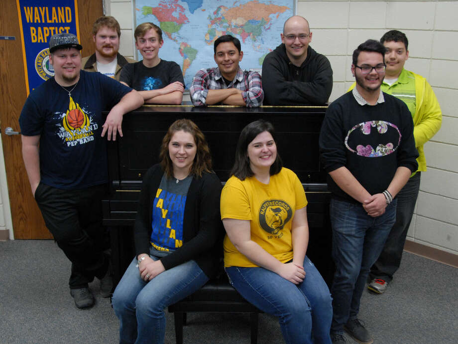 Jonathan Petty/Wayland Baptist University Eleven Wayland band members were recognized for outstanding accomplishments in music. Four were named to the 2015 Small College Intercollegiate Band with seven alternates. Shown are Andrew Payne (standing left), trombone; Shane Spencer, trumpet; Richard Ralston, clarinet; Jaden Pena, bassoon; Kenan Phillips, euphonium; Jonathan Trevino, clarinet; Jaylen Owens, trombone; Brylee Mayo (seated left), Lyndsey Dean, clarinet; and (not shown) Kaylee Lawrence, percussion; and Sean Morales, clarinet.
