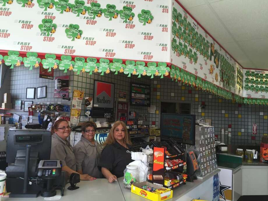 Fast Stop employees Diane Sepeda, Norma Pritchett and manager Susan Madrigal help to promote MDA Shamrock fundraiser with words of faith. Photo: Homer Marquez/Plainview Herald