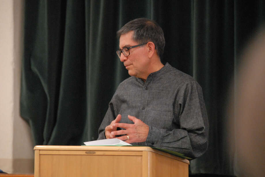 Jonathan Petty/Wayland Baptist University Wayland Assistant Professor of Spanish Dr. Jose Rubio presents findings from his sabbatical to fellow faculty members, administrators and students Tuesday afternoon in the Gate Hall auditorium. Rubio used his sabbatical to research a book he is writing, dealing with issues of faith, corruptions and reconciliation of his home country, Mexico.