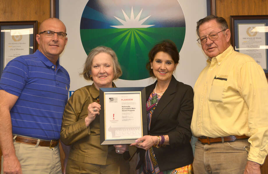 Main Street Board Doug McDonough/Plainview Herald 2015 Plainview Main Street Board representatives Chris Lefevre, Janice Payne, Frances Barrera and Paul Drager display the recent commendation Plainview received from the Texas Historical Commission.