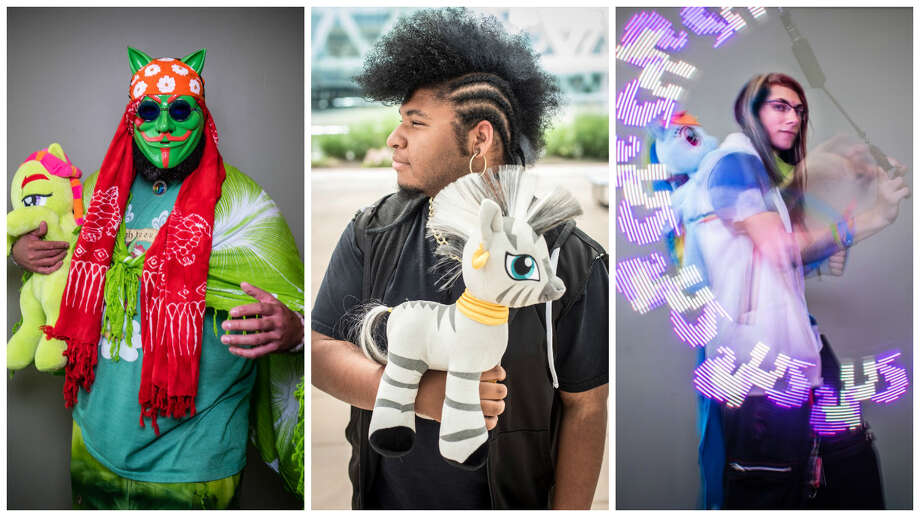 """Attendees at BronyCon included Adonis Robles, aka """"Anonymous Tree Hugger,"""" of Kissimmee, Florida; Michael Nance, aka """"Zecora,"""" of Newport News, Virginia, and Liam Schneidel, aka """"Shadow Dust,"""" of Harrisburg, Pennsylvania. Photo: Andre Chung/For The Washington Post"""