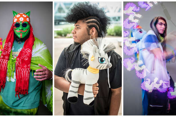 """Attendees at BronyCon included Adonis Robles, aka """"Anonymous Tree Hugger,"""" of Kissimmee, Florida; Michael Nance, aka """"Zecora,"""" of Newport News, Virginia, and Liam Schneidel, aka """"Shadow Dust,"""" of Harrisburg, Pennsylvania. MUST CREDIT: Photo for The Washington Post by Andre Chung"""