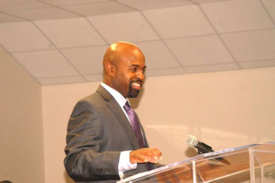 "Doug McDonough/Plainview HeraldTarleton State University professor Reginald ""Reggie"" Hall recants the struggle involved in the 1955 bus boycott in Montgomery, Ala., during his keynote address at the 27th annual Black Awareness Celebration, held Sunday at the New Jerusalem Baptist Church in Finney. Hall is a Plainview native who has been a professor at Tarleton for the past 12 years."