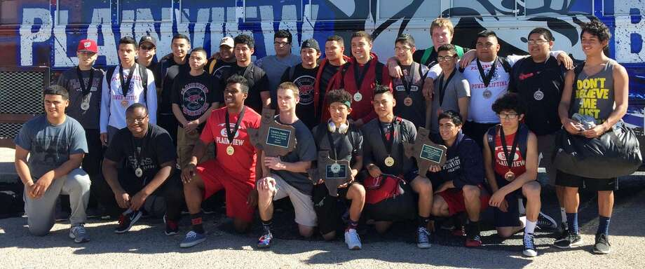 The Plainview boys powerlifting team celebrates their regional championship they won in Midland Saturday. In addition, the Bulldogs had five individual champs and qualified seven for the state meet. Four others will be state alternates. Photo: Courtesy Photo
