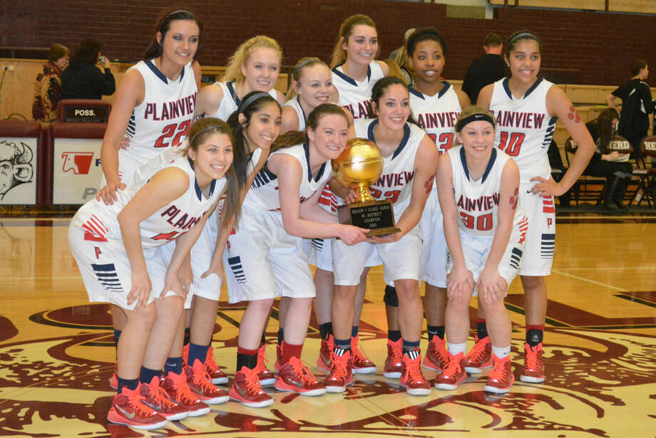 The Plainview Lady Bulldogs display the gold basketball they earned for winning the bi-district championship with a hard-fought victory over Randall in Hereford Tuesday night. Members of the team are front row (from left) Karly Sanchez, Alyssa Gonzales, Meredith McDonough, Karli Wheeler and Jaden Gonzales. Back row (from left) Harlee Davis, Allie Bennett, Kelsey Hunter, Karley Thrasher, Khyra Riddley and Brittany Rincon. Photo: Skip Leon/Plainview Herald