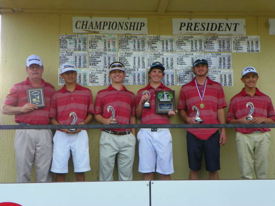 The Plainview boys golf team won the championship at the Plainview Invitational Friday and Saturday with a team score of 611. Pictured (from left) are Coach Mike Lewis, Ryan Castillo, Brock Walker, Harrison Alford, Matt Jolly and Isaiah Garcia.  Photo: Courtesy Photo