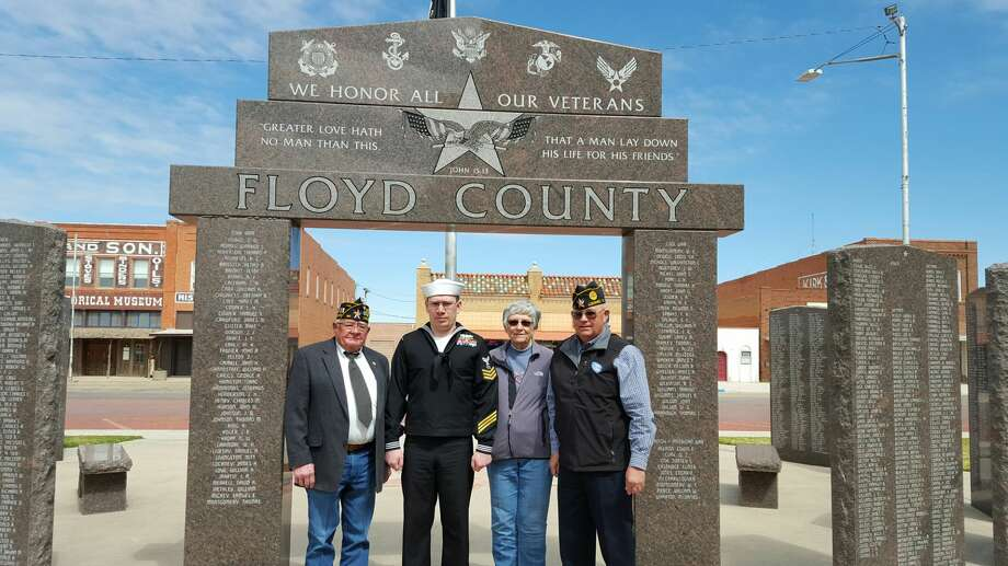 Courtesy Photo Ed Marks (left), commander of the American Legion Post 141 in Lockney, joins with U.S. Navy Petty Officer First Class David Sanchez; Dorothy Turner, Floyd County Historical Museum executive director; and Monte Williams visit the Floyd County Veterans Monument in Floydada.