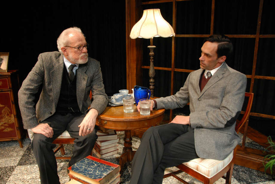 "w/Freud's Last Session photo and cut of poster Jonathan Petty Sigmund Freud, played by Dr. Marti Runnels (left), takes on C.S. Lewis, played by Cory Norman, in a scene from ""Freud's Last Session."" The play will be presented at Wayland Baptist University on March 31-April 2 at 7:30 p.m. in the Black Box studio theater."