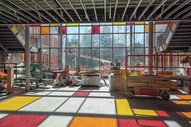 The lobby of the new Sandy Hook School under construction in the spring.