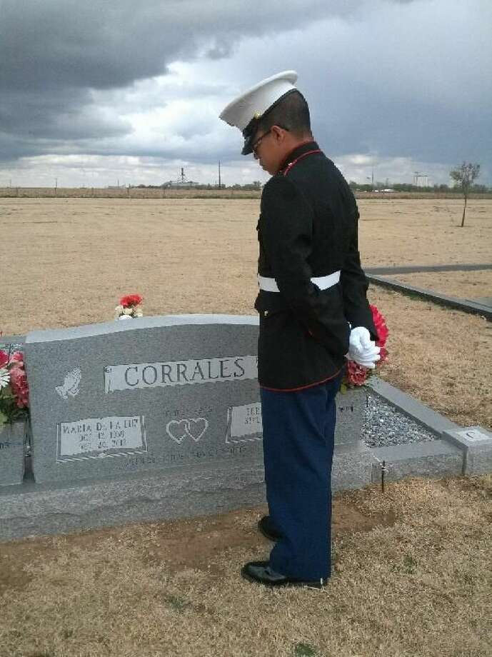 Courtesy Photo by Lupe Corrales Fresh out of Marine boot camp in San Diego, California, recent Plainview High School graduate Chris Vega got to come home for a week earlier this month to spend time with family. That included a visit to the grave of his grandmother, Maria Carrales, in Hart.