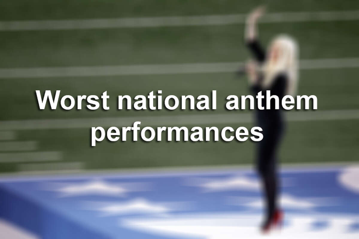 Here are some national anthem performances that are memorable - for all the wrong reasons.