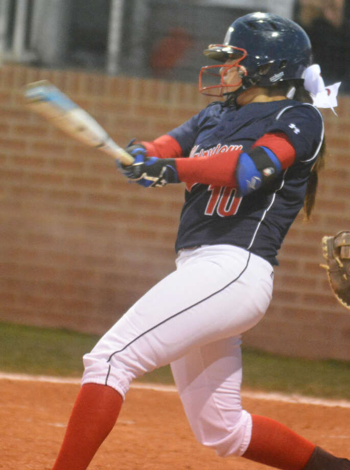 Plainview's Lori Gonzalez takes a swing during a game earlier this season. Gonzalez had the Lady Bulldogs' only hit, a two-run single, in a 3-2 loss to Abilene Cooper Tuesday. Photo: Skip Leon/Plainview Herald