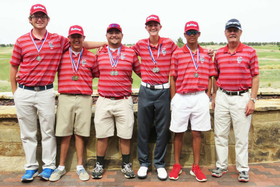 The Plainview boys golf team qualified for the regional tournament with a runner-up finish in District 4-5A. Team members are, from left,Matthew Hastey, Isaiah Garcia, Troy Velasquez, TreyGregory, Ryan Castillo and Coach Mike Lewis. The regional tournament is Monday and Tuesday at the Rawls Course in Lubbock. Photo: Photo Courtesy Of Betsy Lewis