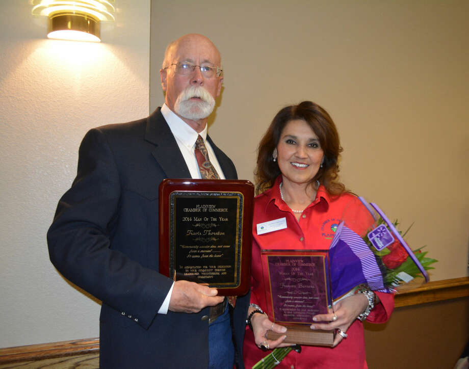 Plainview's Man and Woman of the Year for 2014, Travis Thornton and Frances Barrera, were introduced Thursday at the annual Plainview Chamber of Commerce Banquet.