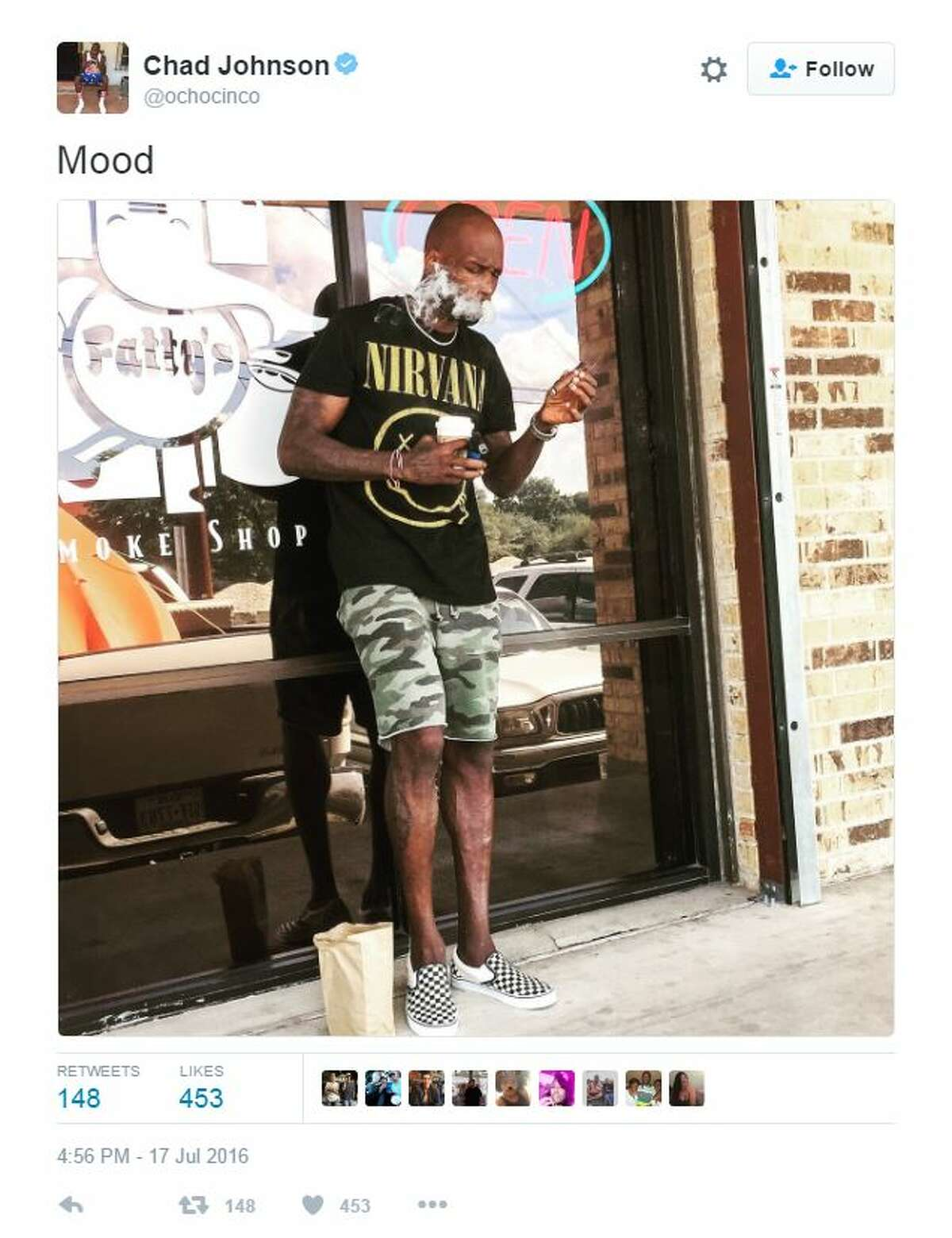 """Former Dallas Cowboys star Chad Johnson, better known as """"Ochocinco,"""" was spotted in San Marcos in July, where he played FIFA with Texas State University students and smoked cigars at Fatty's Smoke Shop."""