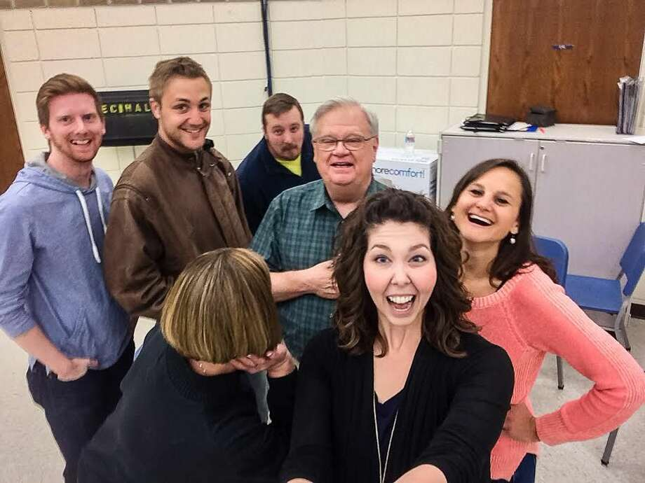 """The cast members of """"Incident at Burro Java: A Coffee Conflict"""" recently took a rehearsal selfie. Shown are Chris Kirby (Dr. Waldemaar, back, left), Luke Van Meveren, (Connor), Dr. Brian Kuhnert (Jack), Dr. Gary Belshaw, composer, director and librettist, Dr. Cloyce Kuhnert (Dr. Greene, front, back turned), Rebecca Ballinger (Cecilia) and Aimee Pineau (Joyce)."""