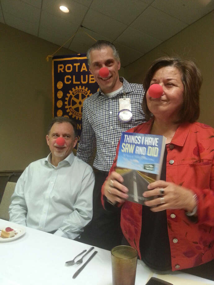 "Rotarian Lydia Castillo with the assistance of Ron Hanby and Ted Baker, announces the Read Across America project of the Hale County Literacy Council. The theme is ""Don't Clown Around, Put Your Nose in a Good Book."" The HCLC will provide age appropriate books to all school students in grades pre K-5 to promote literacy. The Plainview Rotary Club enjoyed a program from Danny Andrews who recounted some of the stories from his new book ""Things I Saw and Did."""