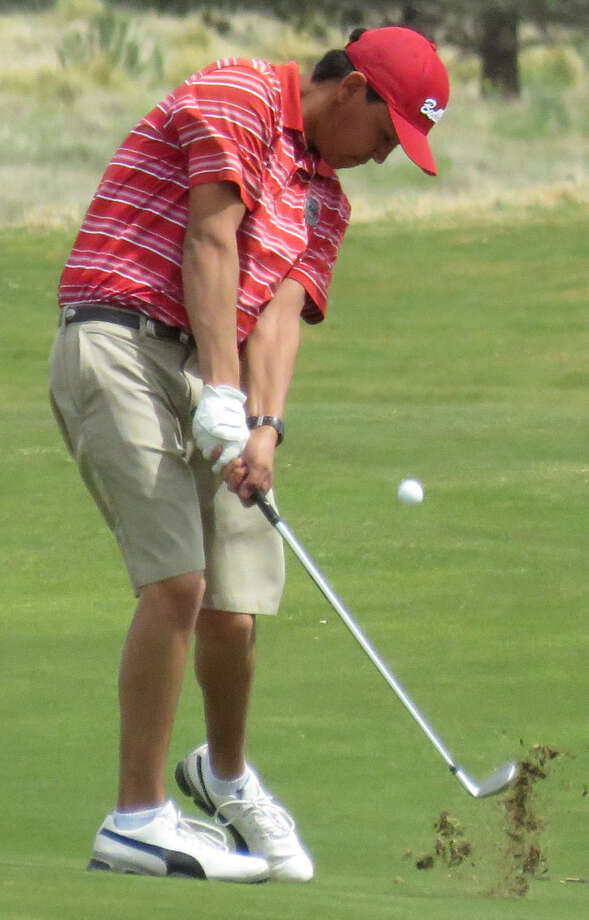 Plainview junior Isaiah Garcia hits a shot during the District 4-5A golf season. The Bulldogs will compete in the regional tournament at the Rawls Course in Lubbock Monday and Tuesday. Photo: Photo Courtesy Of Betsy Lewis