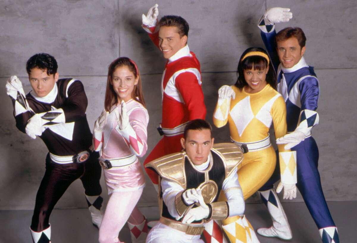 "One-time Red Ranger Steve Cardenas (center, in a 1994 promotional image for ""Mighty Morphin Power Rangers"") praised the Power Rangers franchise for stressing diversity."