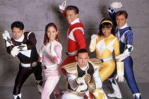 "One-time Red Ranger Steve Cardenas (center, in a 1994 promotional image for ""Mighty Morphin Power Rangers"") praised the Power Rangers franchise for stressing diversity."