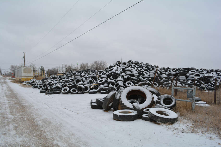 Doug McDonough/Plainview HeraldThe stockpile of tires at Tyre King Recycling, 1100 E. 34th, continues to grow despite efforts by the county and Texas Commission on Environmental Quality to clear the lot.