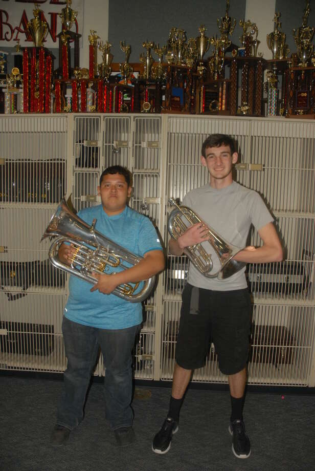 Plainview High juniors Armando Gonzales and Avan Daughrity prepare to join the renowned Horizon Drum and Bugle Corp based out of Odessa. The group will compete this summer against some of the toughest marching bands in the country. Photo: Homer Marquez/Plainview Herald