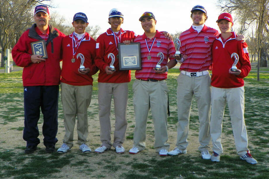 The Plainview golf team claimed the championship at the Plainview Open, which was held at the Plainview Country Club Friday and Saturday. Members of the team are (from left) Coach Mike Lewis, Isaiah Garcia, Ryan Castillo, Troy Velasquez, Ryan Edwards and Trey Gregory. Photo: Photo Courtesy Of Betsy Lewis