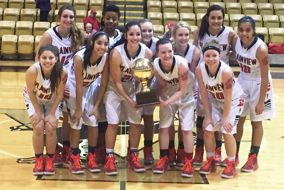 The Plainview girls basketball team advanced to the Region 1-5A tournament with a 55-40 victory over El Paso Eastlake in the regional quarterfinals in Snyder Tuesday night. The Lady Bulldogs are front row (from left) Karly Sanchez, Alyssa Gonzales, Karli Wheeler, Meredith McDonough and Jaden Gonzales. Back row (from left) Karley Thrasher, Khyra Riddley, Kelsey Hunter, Allie Bennett, Harlee Davis and Brittany Rincon. Photo: Doug McDonough/Plainview Herald