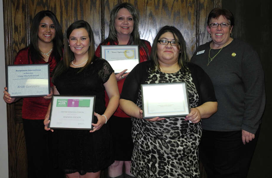 Awards recipients pose following the Soroptimist International of Plainview Awards Banquet Presentation. Pictured are Kristi Gonzales, M'Kenna Decker, Marie Vinson, Darlene R. Vidal, Caren Smith, Soroptimist president Photo: Gail M. Williams| Plainview Herald