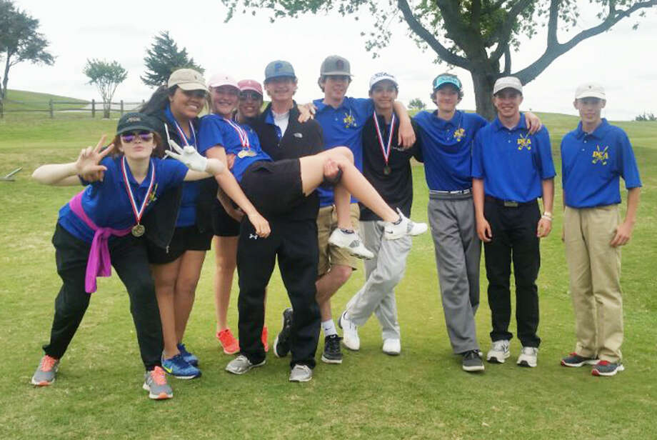 The Plainview Christian Academy boys' and girls' golf teams both advanced to the regional tournament. The girls won the district title and Hadley Hooper was the individual champ. The boys finished third in district. Members of the teams are, from left, Helena Roy, Hannah Leyendecker, Michelle Ruijne, Hadley Hooper, Brant Walker, Seth Kelley, Cameron Holt, Todd Earhart, Cade Lowin and Wellington Moore. Photo: Courtesy Photo