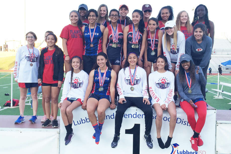 The Plainview junior varsity girls' track team won the District 4-5A championship with 208 points at Lowrey Field in Lubbock. Photo: Courtesy Photo