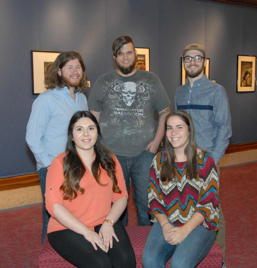 Jonathan Petty/Wayland Baptist University Wayland seniors Clara Baxter (front left), Hannah Goble, (back left) Calvin McDaniel, Cody Watson and Ian Pyeatt will present their work at a senior art show in the Abraham Art Gallery at Wayland beginning April 23.
