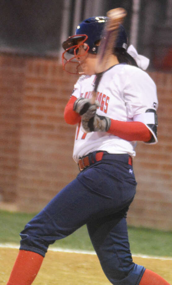Plainview's Macey Mayberry follows through on a swing during a game earlier this season. Mayberry had one of the Lady Bulldogs' five hits against Lubbock Cooper Tuesday. Photo: Skip Leon/Plainview Herald