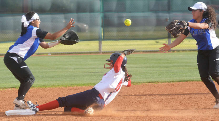 Plainview's Makayla Vasquez slides into second base ahead of the throw during the seventh inning Friday. The Lady Bulldogs pulled out a dramatic 3-2 win in the bottom of the seventh inning over San Angelo Lake View. Photo: Skip Leon/Plainview Herald