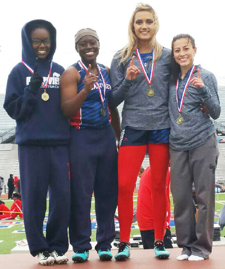 The Plainview girls' 400-meter relay team won the race at the District 4-5A meet in Lubbock. Members of the team are, from left, Kaizha Roberts, Jade Nails, Harlee Davis and Julissa Chavez. Photo: Courtesy Photo