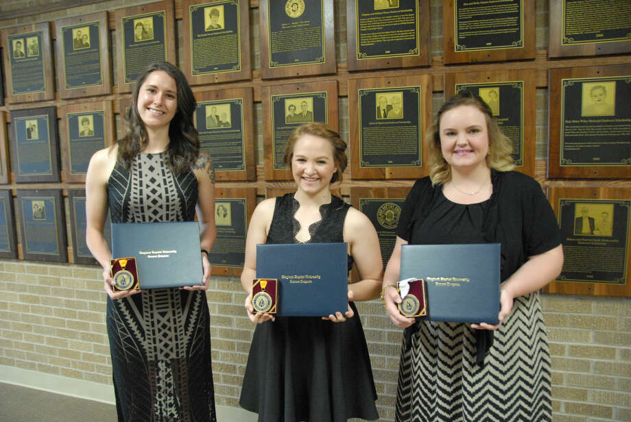 Jonathan Petty/Wayland Baptist University Wayland Baptist University students Sara Flinn (left), Lauryn Bruggink and Ashley Price were recognized at a special honors luncheon for successfully completing the academic requirements to graduate with honors on May 7. Flinn and Bruggink will each graduate with a Bachelor of Science with Honors degree while Price will graduate with a Bachelor of Arts with Honors degree.