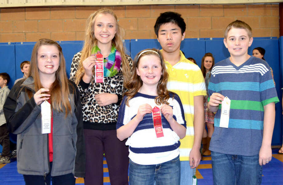 Doug McDonough/Plainview HeraldPlainview Christian Academy on Friday hosted the Area Math Olympics for the Association of Christian Schools International, with students from eight schools competing. PCA students who placed in the competition include Kailer Lowin (left), third place in sixth grade computation; Stephanie Stukey, second place in eighth grade computation; Avery Moudy, second place in fourth grade reasoning; De Chen, fourth place in eighth grade computation; and Brennen Ballard, third place in seventh grade computation. In addition to PCA, the contest drew students from Hereford Nazarene, Lubbock Trinity, Lubbock Southcrest, Dalhart, Amarillo San Jacinto, El Paso and Levelland.