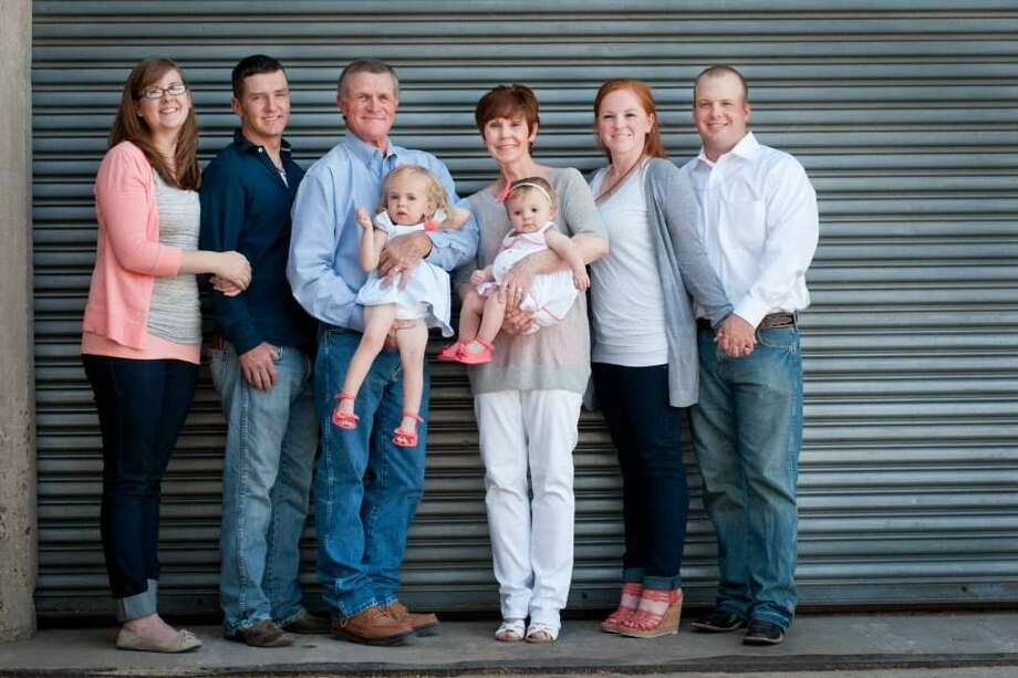 For 70 years, the Huffhines family has been a part of the foundation of West Texas farming. Making up a branch of the family tree are James and Resa (center) holding grandchildren Emma and Marci, son Jeremy (left) and wife Victoria and daughter Marci Morton (right) and husband Andy Photo: Courtesy Photo