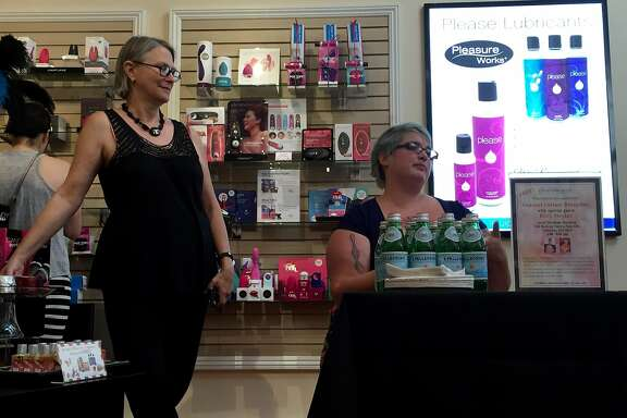 Dr. Carol Queen, left, and kitty Stryker discuss the issue of consent at Good Vibrations in Palo Alto
