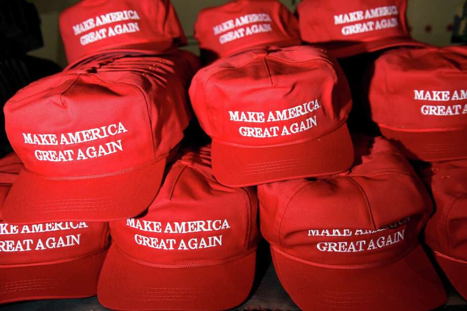 Campaign hats are seen for sale during a rally for Republican presidential candidate Donald Trump held at the San Jose Convention Center, Thursday, June 2, 2016, in San Jose, Calif. Photo: Michael Short / Special To The Chronicle / Michael Short 2016