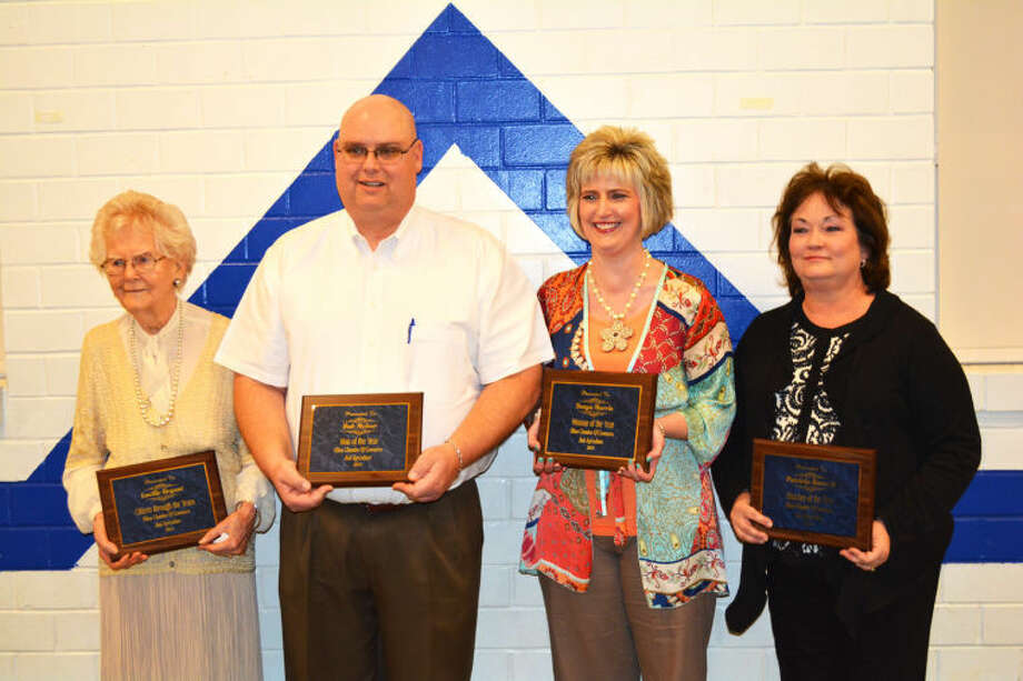 Doug McDonough/Plainview HeraldKey award recipients at Saturday's Olton Chamber of Commerce Banquet include Lucille Bryant (left), Citizen through the Years; Bub McIver, Man of the Year; Tonya Morris, Woman of the Year; and Patricia Barnett, Teacher of the Year.
