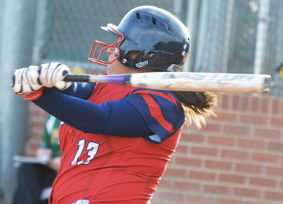 Plainview's Chyane Hernandez follows through on a swing during a softball game earlier this season. The senior had two hits, including a double, and a run batted in against Lubbock Cooper Friday. The Lady Bulldogs open their District 4-4A season Tuesday at Hereford. Photo: Skip Leon/Plainview Herald