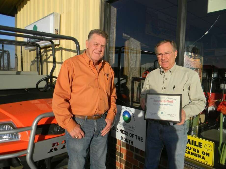 Courtesy PhotoJames Bros. Implement, represented by Jerry James and Ronnie Shannon, is the Chamber of Commerce Business of the Month. The farm implement dealer at 3201 N. I-27 — on the west service road north of Texas Highway 194 — will mark its 50th anniversary in November. It was founded by brothers Jack and Earl James and is still owned by the James family and managed by Jack's son, Jerry James, and Ronnie Shannon, who is married to Jack's daughter, Kay. Originally at 2509 W. Fifth, the business moved to its current location in 1980. James Bros. is the local distributor for the full Kubota tractors along with Massey-Ferguson and several other lines. In addition to providing sales, parts and service for farm power and equipment, James Bros. also has a full line of lawn and garden products along with the popular RTV four-wheeler utility vehicles. The family-owned firm serves Plainview and the surrounding regions from its Plainview location, which has 19 employees, as well as from Amarillo, with four employees, and Farwell, with two employees.
