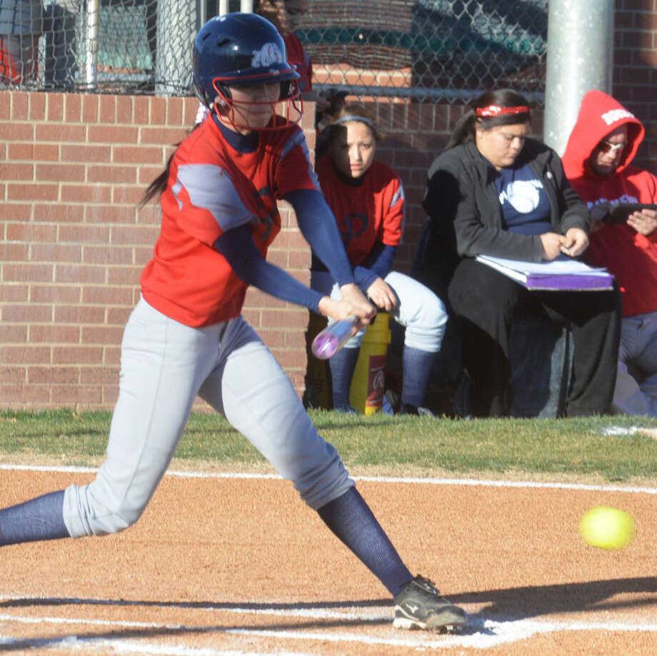Plainview's Criselda Luna hits the ball in a scrimmage earlier this season. Luna came through with a two-run double in the bottom of the last inning to lift the Lady Bulldogs to a 5-4 victory over Stephenville in the Snyder Tournament Friday. Photo: Skip Leon/Plainview Herald
