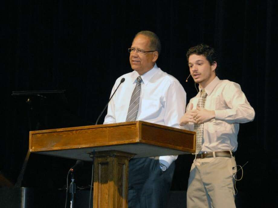 Jonathan Petty/Wayland Baptist UniversityWayland Baptist University senior Albert Oliveira (right) from Brazil, translates for the Rev. Paulo Lino during chapel on Wednesday morning. Lino was speaking as part of the McCoy Mission Lectures, sponsored by Wayland and First Baptist Church in Plainview.