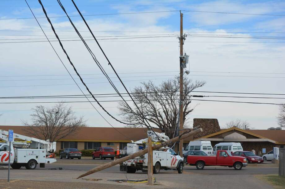 A truck-tractor making a U-turn through the Greg Sherwood Memorial Bulldog Stadium parking lot snagged low-hanging communications lines along 24th Street about 9:45 a.m. Thursday. That, in turn, snapped a utility pole behind the Plainview High Girls Field House, damaged two additional poles and a transformer, pulled down power lines and knocked out the traffic lights at 24th and Yonkers. Following the mishap, the driver parked across the street at the PISD Education Center to await investigating officers.